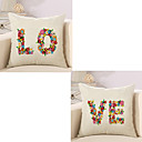 cheap Pillow Covers-2 pcs Cotton / Linen Pillow Cover / Pillow Case, Quotes & Sayings / Fashion / Letter Retro / Traditional / Classic / Euro