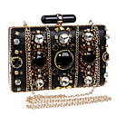 cheap Clutches & Evening Bags-Women's Bags Polyester / PU(Polyurethane) Evening Bag Rhinestone Solid Colored Black