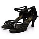 levne Boty na latinskoamerické tance-Dámské Boty na latinskoamerické tance Hedvábí Sandály Štras Na zakázku Obyčejné Taneční boty Černá / Vevnitř / Kůže