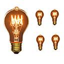 baratos Pinturas Paisagens-5pçs 40W E26 / E27 A60(A19) Branco Quente 2300k Retro Regulável Decorativa Incandescente Vintage Edison Light Bulb 110-130V