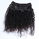 baratos Strass & Decorações-Com Presilha Extensões de cabelo humano Kinky Curly Extensões de Cabelo Natural Cabelo Humano Mulheres