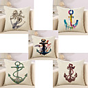 cheap Pillow Covers-5 pcs Cotton / Linen Pillow Cover / Pillow Case, Novelty / Fashion / Anchor Retro / Traditional / Classic / Euro