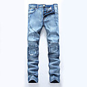 cheap Earrings-Men's Plus Size Cotton Straight / Slim / Jeans Pants - Solid Colored / Patchwork Ripped / Patchwork