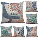 preiswerte Dekorative Kissen-6 Stück Leinen Kissenbezug, Solide Geometrisch Texture Strand Design Stützen Traditionell-Klassisch