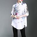 hesapli Meyve ve Sebze Araçları-Kadın's Polyester Gömlek Yaka Desen Çin Stili Çalışma Gömlek