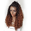 cheap Human Hair Wigs-Human Hair Glueless Lace Front Lace Front Wig Brazilian Hair Kinky Curly Ombre Wig 180% Density with Baby Hair Ombre Hair Natural Hairline African American Wig 100% Hand Tied Ombre Women's Short