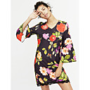 cheap Women's Sandals-Women's Flare Sleeve Daily Flare Sleeve Sheath Dress - Floral Patchwork Lace V Neck Spring Black M L XL