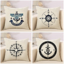 cheap Accessories For GoPro-4 pcs Cotton / Linen Pillow Cover / Pillow Case, Novelty / Fashion / Anchor Retro / Traditional / Classic / Euro