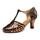 baratos Spinners de mão-Mulheres Sapatos de Dança Latina Courino Sandália / Têni Salto Robusto Não Personalizável Sapatos de Dança Bronze / Couro / Profissional