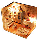 cheap Doll Houses-Hoomeda Dollhouse Model Building Kit Hand-made Exquisite DIY LED Light Furniture House Textile Wood Plastic 1pcs Pieces Girls' Kid's Gift