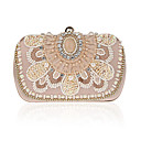 cheap Clutches & Evening Bags-Women's Bags Polyester Evening Bag Imitation Pearl / Crystal / Rhinestone Solid Colored Champagne / White / Black