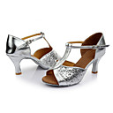 cheap Women's Sandals-Women's Latin Shoes Paillette Sandal Sequin Customized Heel Customizable Dance Shoes Silver / Indoor / Leather