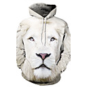 cheap Women's Heels-Men's Plus Size Active Long Sleeve Hoodie - Animal Lion, Print / 3D Hooded White 4XL / Winter