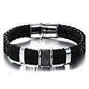 cheap Men's Bracelets-Men's Braided Leather Bracelet - Stainless Steel, Leather Vintage, Punk, Rock Bracelet Black For Birthday Dailywear Sports Outdoor