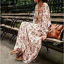 baratos Conjuntos de Pincéis de Maquiagem-Mulheres Boho Seda balanço Vestido Floral Decote V Cintura Alta Longo