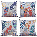 cheap Cushion Sets-4 pcs Natural/Organic Polyester Pillow Case Pillow Cover, Solid Floral Plaid Textured Casual Beach Style Euro Bolster Traditional/Classic