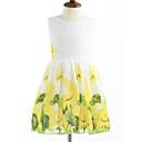 baratos Camisas & Shorts/Calças de Ciclismo-Menina de Vestido Treliça Verão Algodão Sem Manga Floral Branco