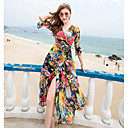 cheap Bracelets-Women's Beach Swing Dress,Geometric V Neck Maxi Polyester Summer High Rise Inelastic Thin