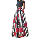 cheap Latin Shoes-Women's Holiday Cotton Two Piece Dress - Striped Floral Print Maxi