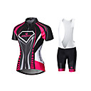 cheap Cycling Jackets-Malciklo Women's Short Sleeves Cycling Jersey with Shorts - White Black British Geometic Bike Bib Tights Tights Jersey Clothing Suits,