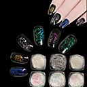 cheap Nail Glitter-6box 0 2g transparent chameleon flakes multichrome nail powder powder shimmer nail art glitter dust galaxy glitter powder
