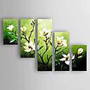 abordables Peintures à Fleurs / Botaniques-Peinture à l'huile Hang-peint Peint à la main - A fleurs / Botanique Abstrait Moderne contemporain Nouvelle arrivee Inclure cadre intérieur / Cinq Panneaux