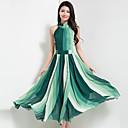 رخيصةأون ملصقات الحائط-المرأة الشيفون بوهو ضئيلة فستان سوينغ - كتلة اللون ، مطوي ارتفاع الخصر ماكسي