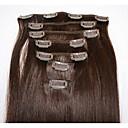 olcso Divat fülbevalók-Felcsatolható Human Hair Extensions Egyenes Emberi haj tincsek Emberi haj Brazil haj Női