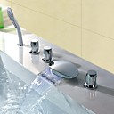 cheap Shower Faucets-Bathtub Faucet - Contemporary Modern Style LED Chrome Widespread Brass Valve