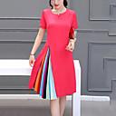 ieftine Rochii Fete-Pentru femei Mărime Plus Size Ieșire Linie A Rochie - Plisată, Bloc Culoare Lungime Genunchi / Vară