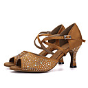 cheap Chandeliers-Women's Latin Shoes Silk Sandal / Heel Rhinestone / Buckle Flared Heel Dance Shoes Purple / Brown / Red / Performance / Leather