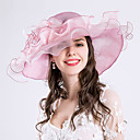 cheap Wedding Umbrellas-Feather Silk Organza Fascinators Hats Headwear with Floral 1pc Wedding Special Occasion Party / Evening Casual Outdoor Headpiece