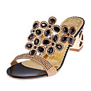 cheap Costume Wigs-Women's Shoes Glitter Summer Comfort Sandals Rhinestone Gold / Black / Blue