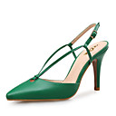 cheap Women's Sandals-Women's Shoes Leather Spring / Summer Novelty Sandals Pointed Toe Navy Blue / Green / Almond / Party & Evening / Party & Evening