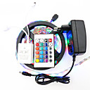 billige Veggklistremerker-5 m Lyssett / RGB-lysstriper 300 LED 3528 SMD 1 24Kjør fjernkontrollen / 1 x 12V 2A adapter RGB Kuttbar / Vanntett / Dekorativ 12 V 1set / IP65 / Selvklebende