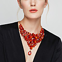 cheap Earrings-Women's Crystal Bib Statement Necklace - Flower Baroque, Elegant Red, Light Blue, Rainbow 40+5 cm Necklace Jewelry 1pc For Party, Anniversary, Birthday