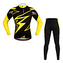 cheap Cycling Jersey & Shorts / Pants Sets-WOSAWE Long Sleeves Cycling Jersey with Tights - Yellow Bike Clothing Suits, Quick Dry, Reflective Strips