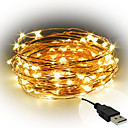cheap LED String Lights-10m String Lights 100 LEDs SMD 0603 Warm White / White / Red Decorative USB Powered 1pc / IP65