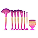 cheap Makeup Brush Sets-8pcs pink fish shape makeup fan brush professional mermaid soft eye cosmetics beauty make up brushes set kabuki kit maquiagem