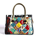cheap Totes-Women's Bags Cowhide Tote Pattern / Print / Plaid / Split Joint Rainbow