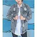 cheap Pendant Lights-Women's Modern/Contemporary Denim Jacket-Solid Colored Shirt Collar