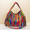 cheap Shoulder Bags-Women's Bags Cowhide Shoulder Bag Split Joint Rainbow