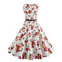זול סטים של ביגוד לבנות-לבן עד הברך סגנון וינטג', פרחוני - שמלה סווינג וינטאג' סגנון רחוב בגדי ריקוד נשים