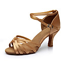 cheap Synthetic Capless Wigs-Women's Latin Shoes Silk Sandal Customized Heel Customizable Dance Shoes Nude / Indoor / Leather