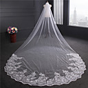 cheap Fishing Lures & Flies-One-tier Lace Applique Edge Wedding Veil Chapel Veils 53 Sequin Appliques Embroidery Ribbon Tie Tulle