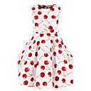 رخيصةأون فساتين البنات-لفتاة فستان ورد قطن كل الفصول بدون كم زهري أبيض