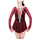 cheap Ice Skating Dresses , Pants & Jackets-Figure Skating Dress Women's / Girls' Ice Skating Dress Claret-red Spandex, Lace Rhinestone High Elasticity Performance Skating Wear