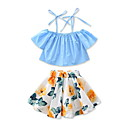 cheap Girls' Clothing Sets-Girls' Floral Fashion Clothing Set, Cotton Summer Short Sleeves Floral Dresswear Blue