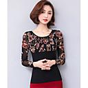 baratos Extensões de Cabelo com Cor Natural-Mulheres Blusa Floral Poliéster