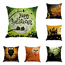 cheap Pillow Covers-6 pcs Cotton/Linen Pillow Case Pillow Cover, Printing Classic Novelty Classical Neoclassical Traditional/Classic Retro Halloween